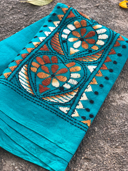 Blue Hand stitched kantha blouse fabric. BH-KAN-2
