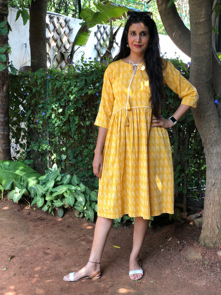 | Inara | Light mustard colour Kantha work dress