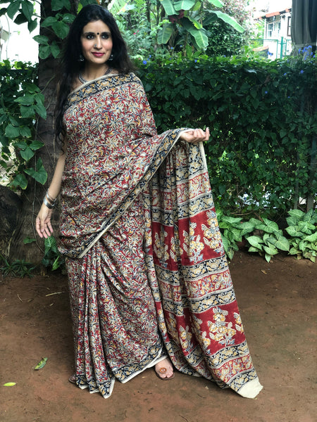 | Khushnuma | Floral Overall kalamkari saree with thin border.