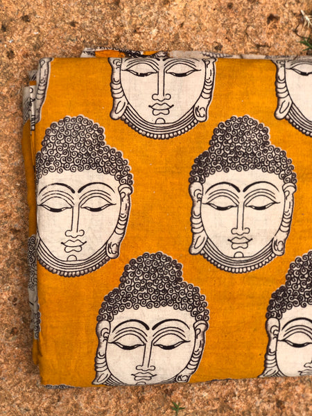 Mustard and Beige Buddha Cotton Kalamkari Fabric.