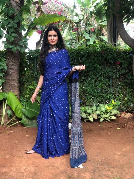 | Amber | Blue with Blue  vegetable dyed tie and dye ajrakh mul cotton saree