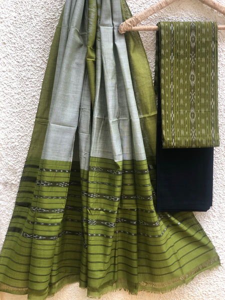 Green Sambalpuri Ikat Unstitched Suit Set