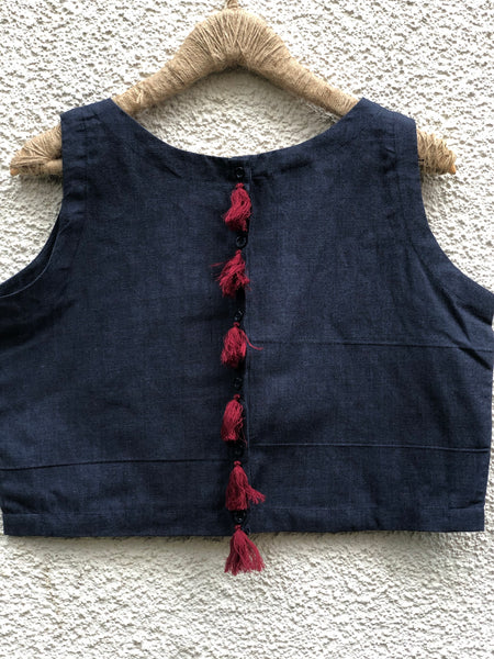 Dark Grey Sleeveless ready to wear cotton Blouse with tassels .
