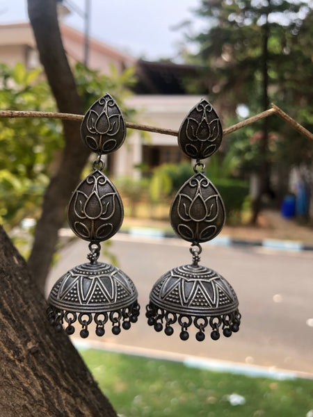German Silver Lotus Jhumka Earrings