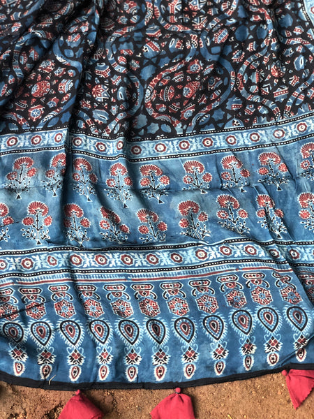 Indigo Modal silk vegetable dyed Ajrakh dupatta.