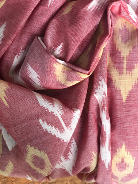 | Rose Dust | Pure  Handwoven Pochampally Single  Ikat Cotton Saree