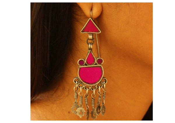 Pink Vintage silver earrings with glass work. VA-PK-CA1-4