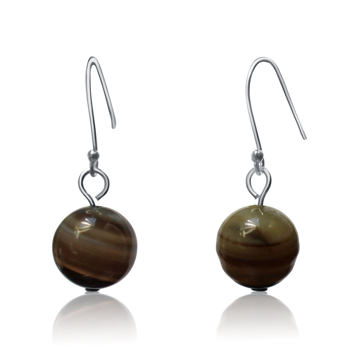 Brown Agate Earrings - choose your hook colour