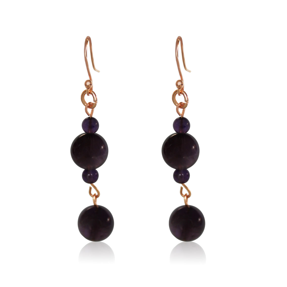Long Earrings - Amethyst - choose hook colour