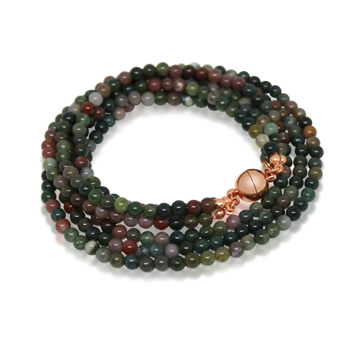 Long Strand Necklace - Indian Agate - choose magnet colour