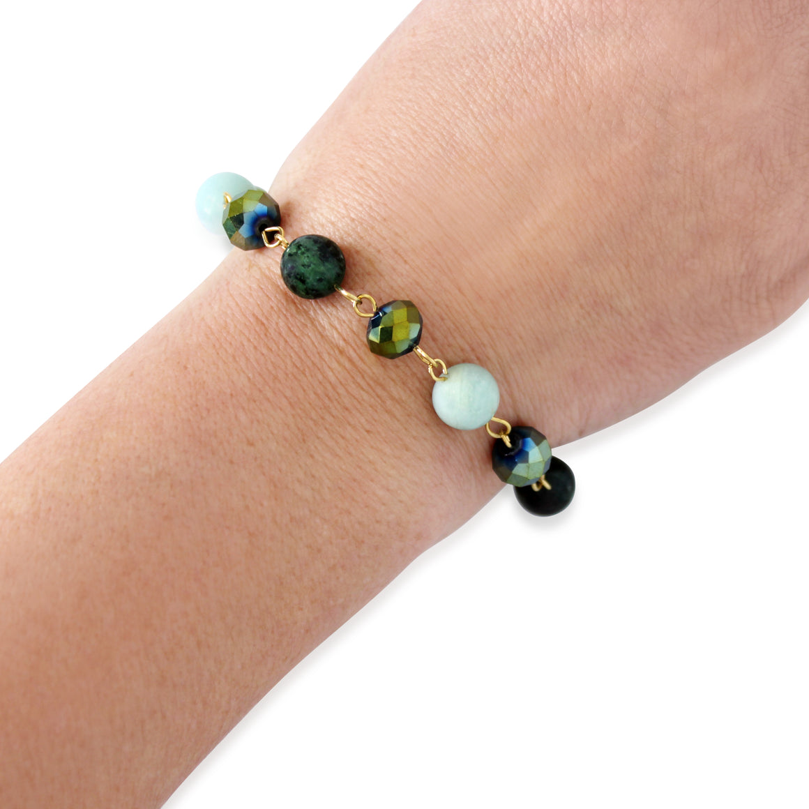 Bracelet Link - sea green - choose magnet colour