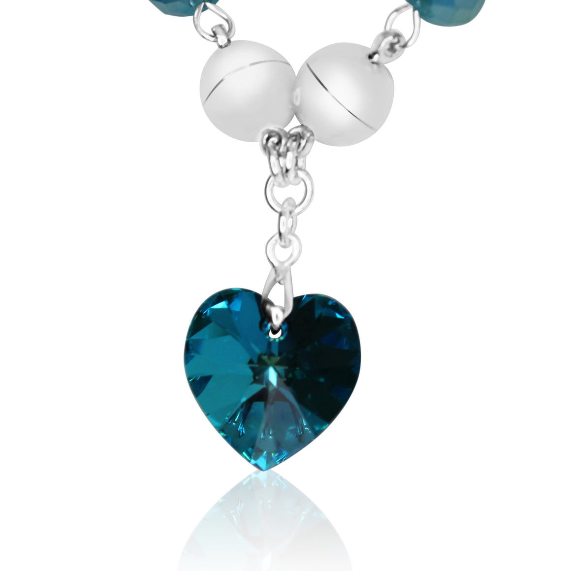 Swarovski Small Heart pendant - Turquoise - choose magnet colour