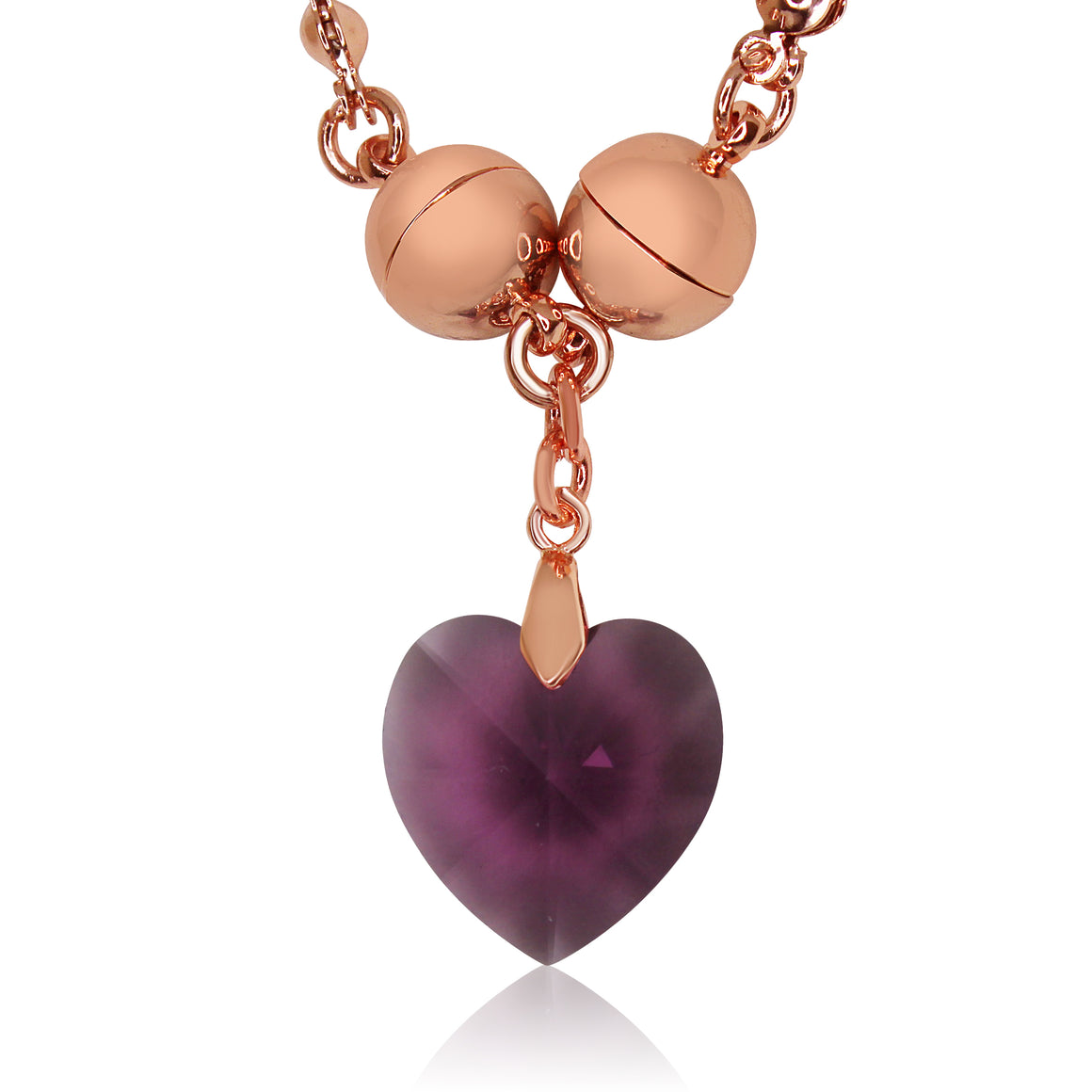 Swarovski Small Heart pendant - Amethyst - choose magnet colour