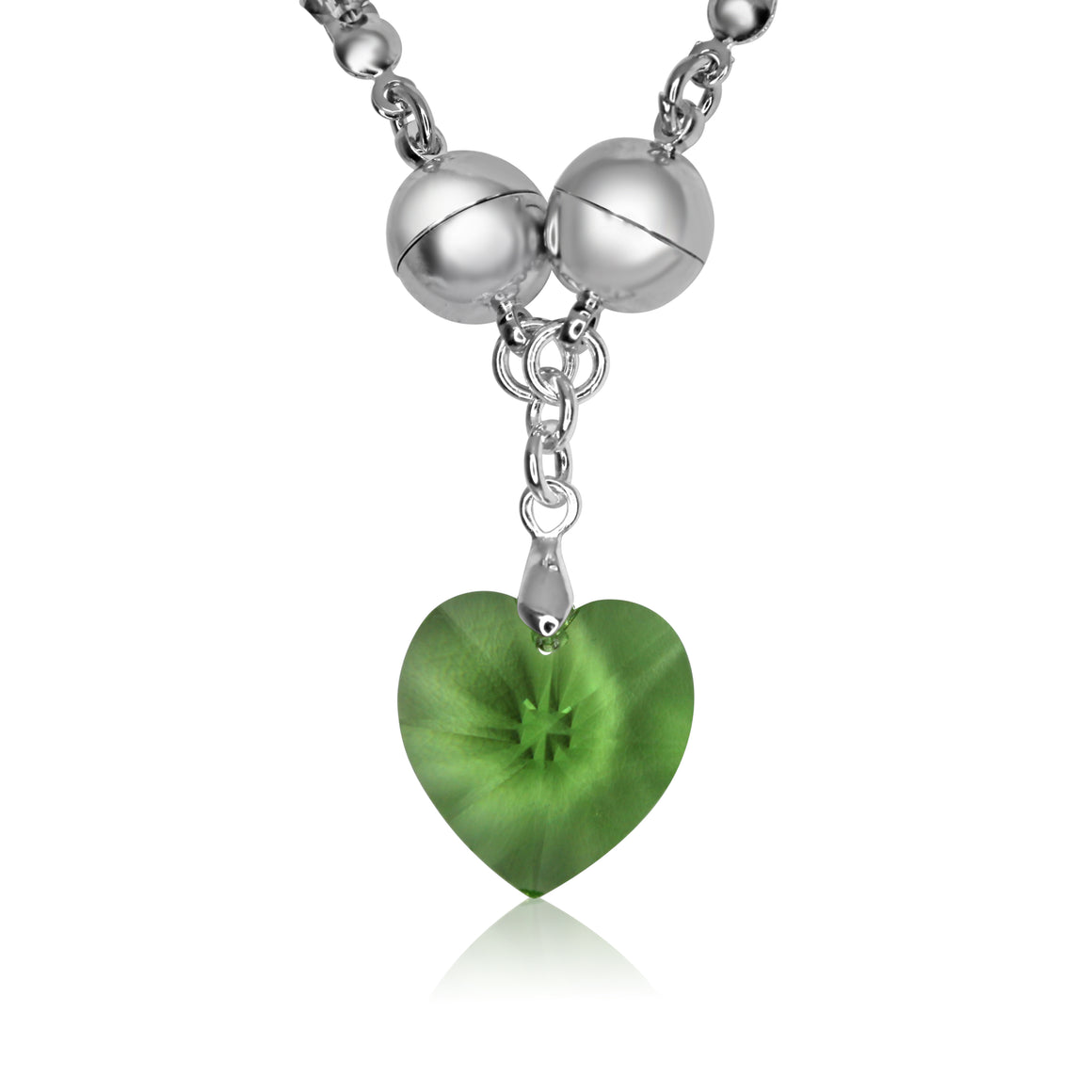 Small Swarovski Heart - Peridot - choose magnet colour