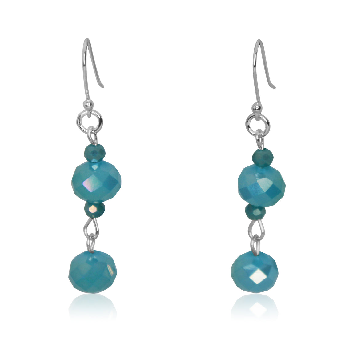Long Crystal Earrings - turquoise - choose hook colour
