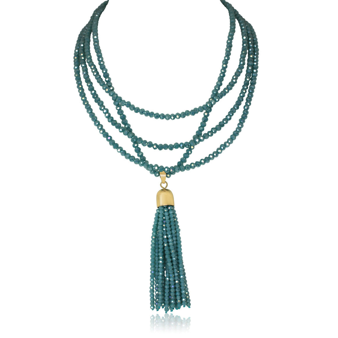 Crystal Tassel - turquoise - choose your magnet colour