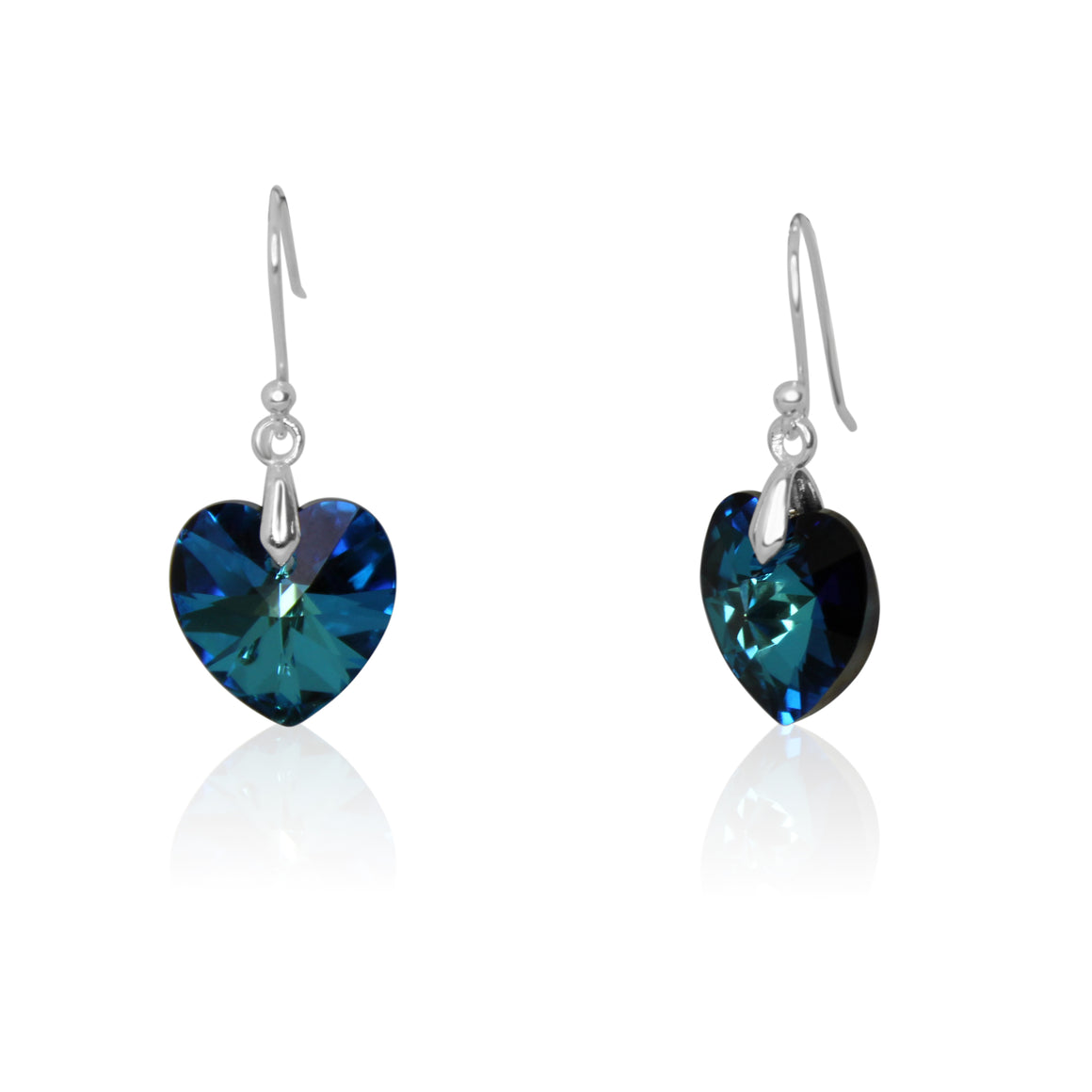 Earrings - Swarovski Heart - turquoise - choose hook colour