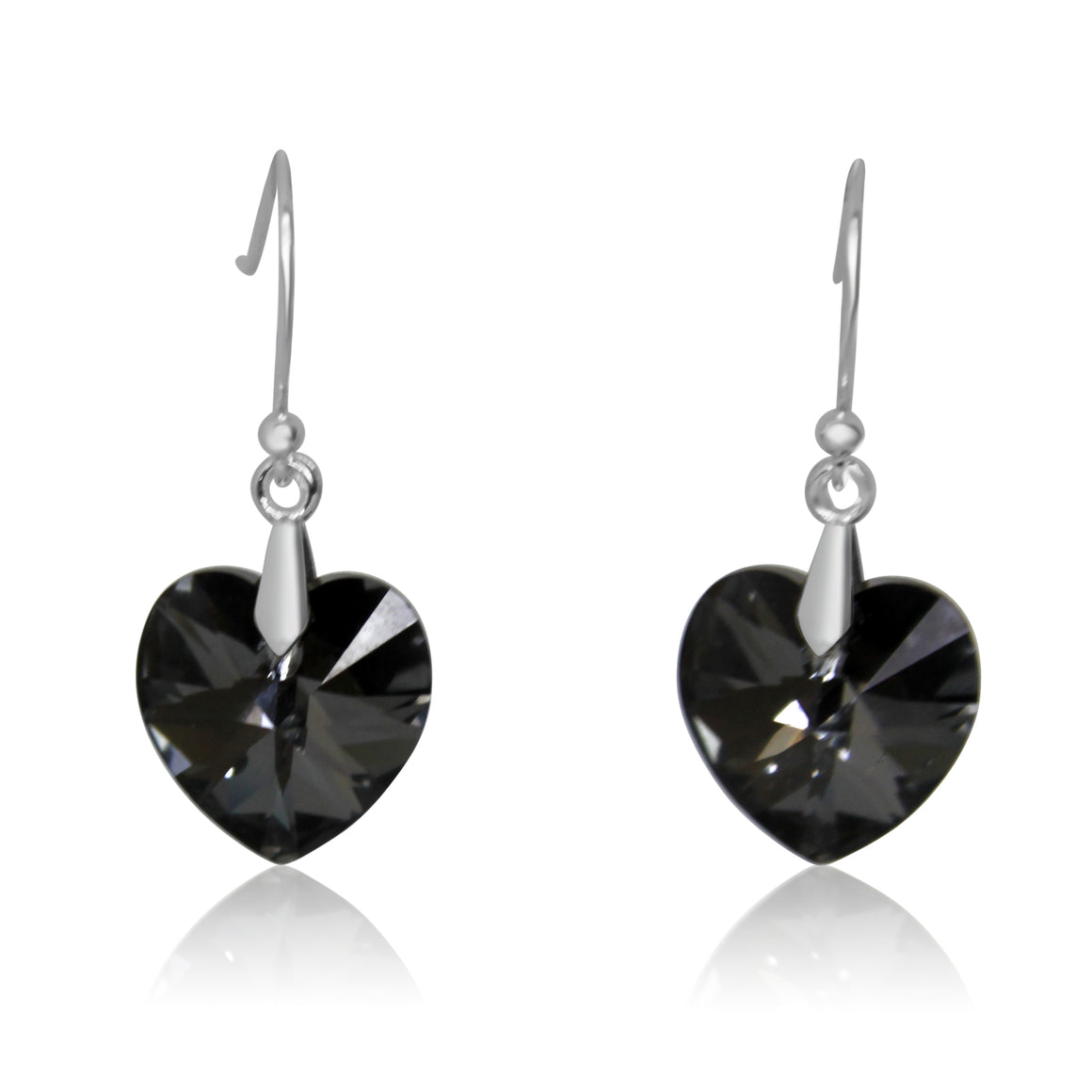 Earrings - Swarovski Heart - charcoal - choose hook colour