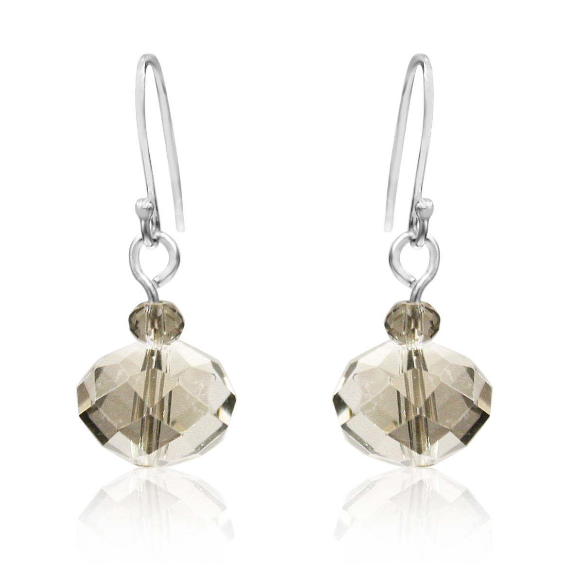Platinum Crystal Earrings - matching the platinum 10 Way Necklace