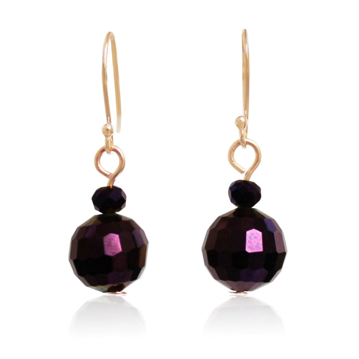 Purple Crystal Earrings - matching the purple 10 Way Necklace (rose gold)