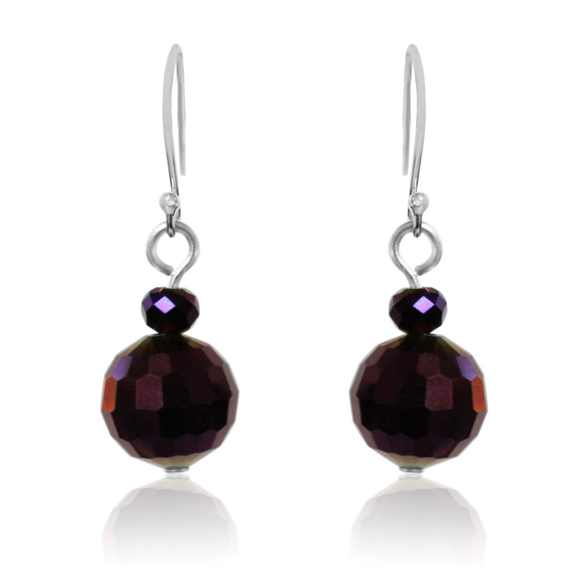 Purple Crystal Earrings - choose hook colour