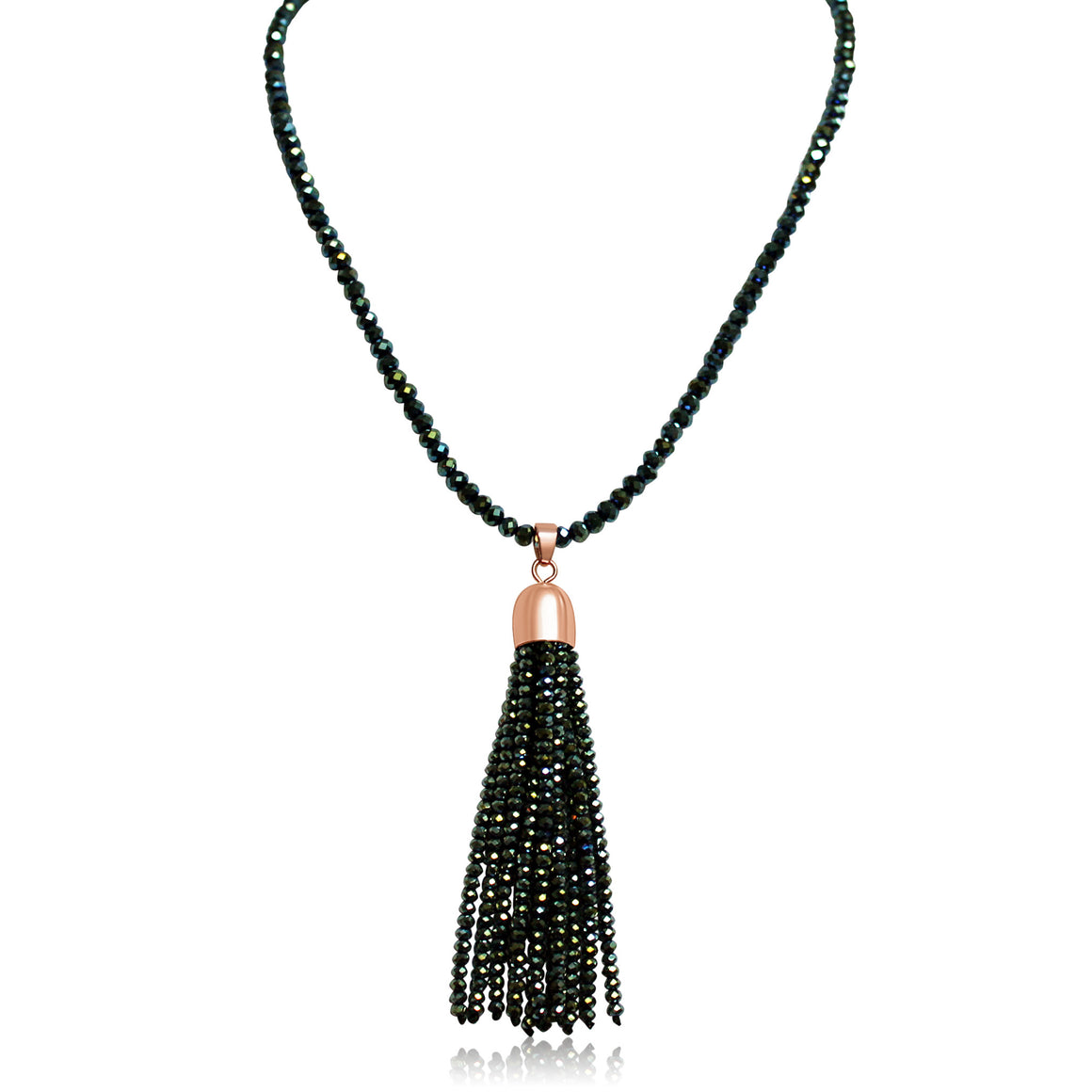 Crystal Tassel - Sea Green with rose gold magnets