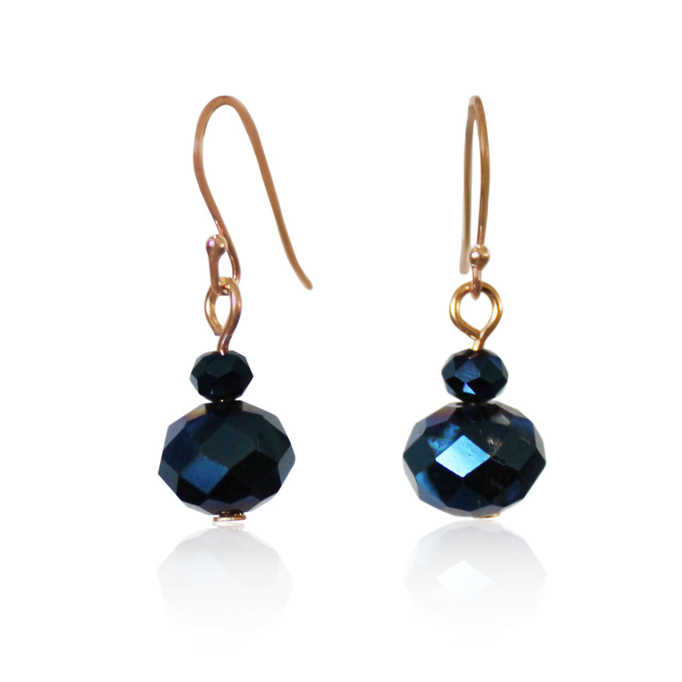 Sapphire Crystal Earrings - choose hook colour
