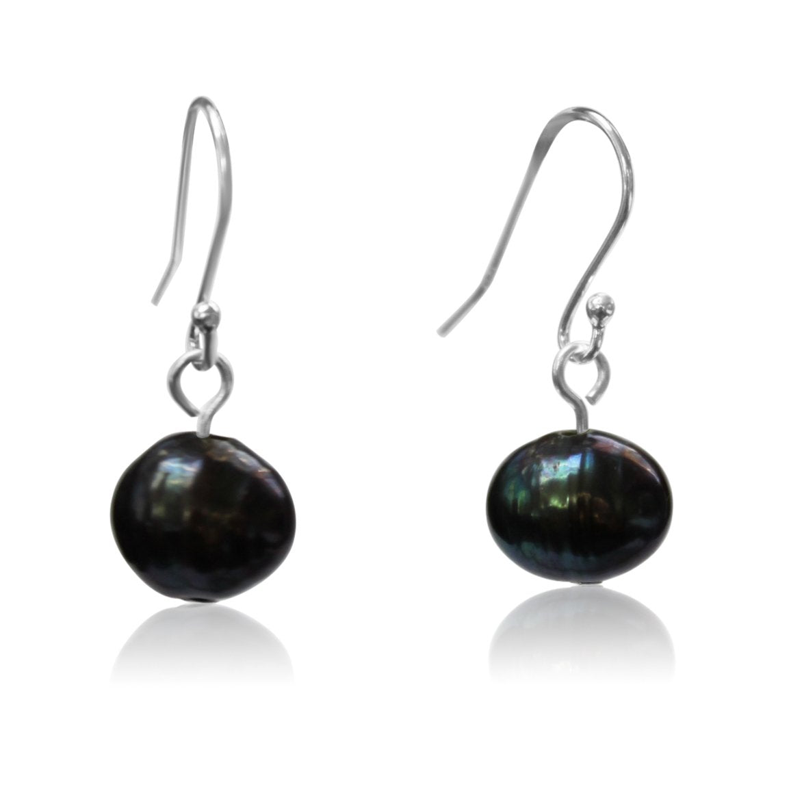 Short Charcoal Pearl Earrings - matching 10 Way Necklace - choose your hook colour