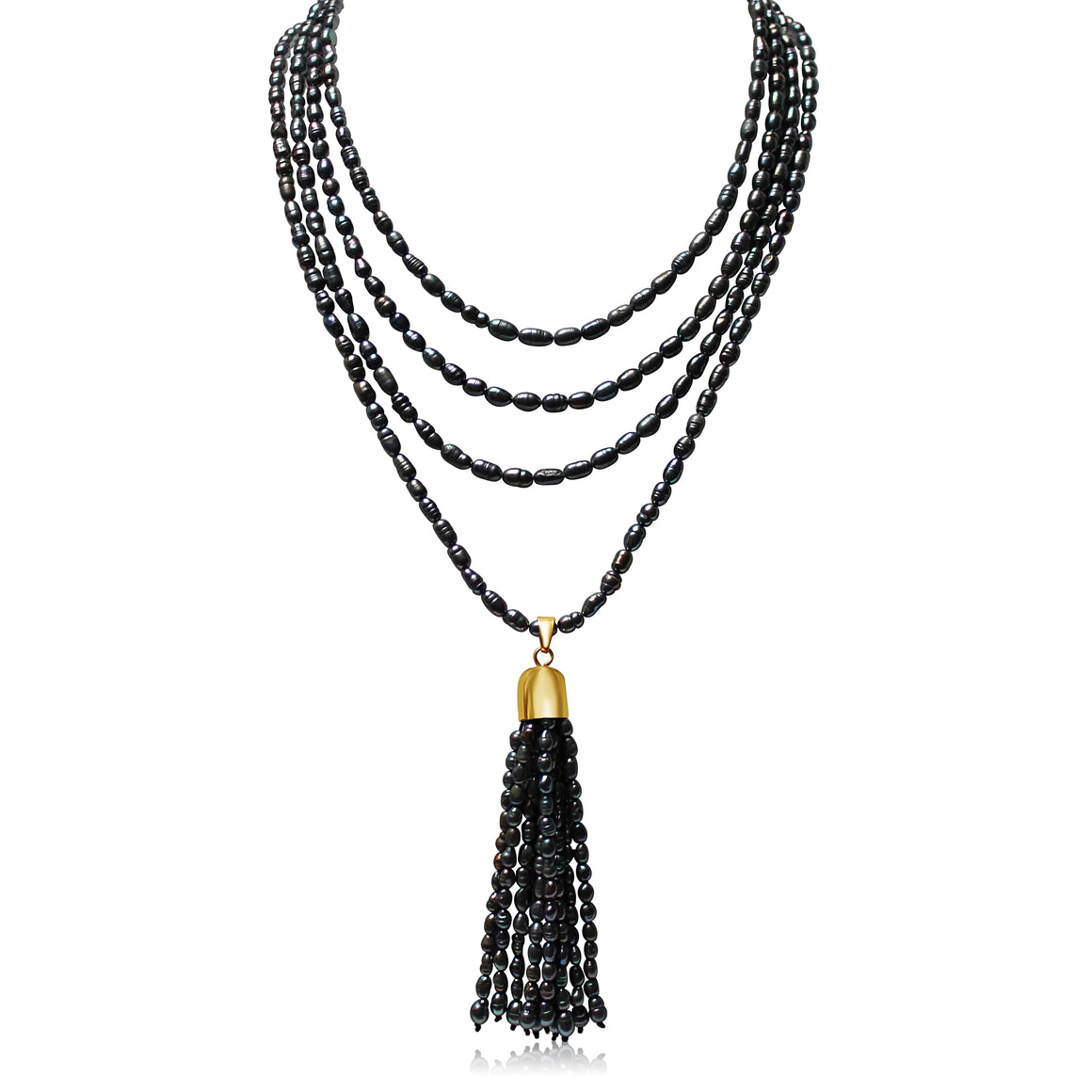 Charcoal Pearl Tassel - choose magnet colour