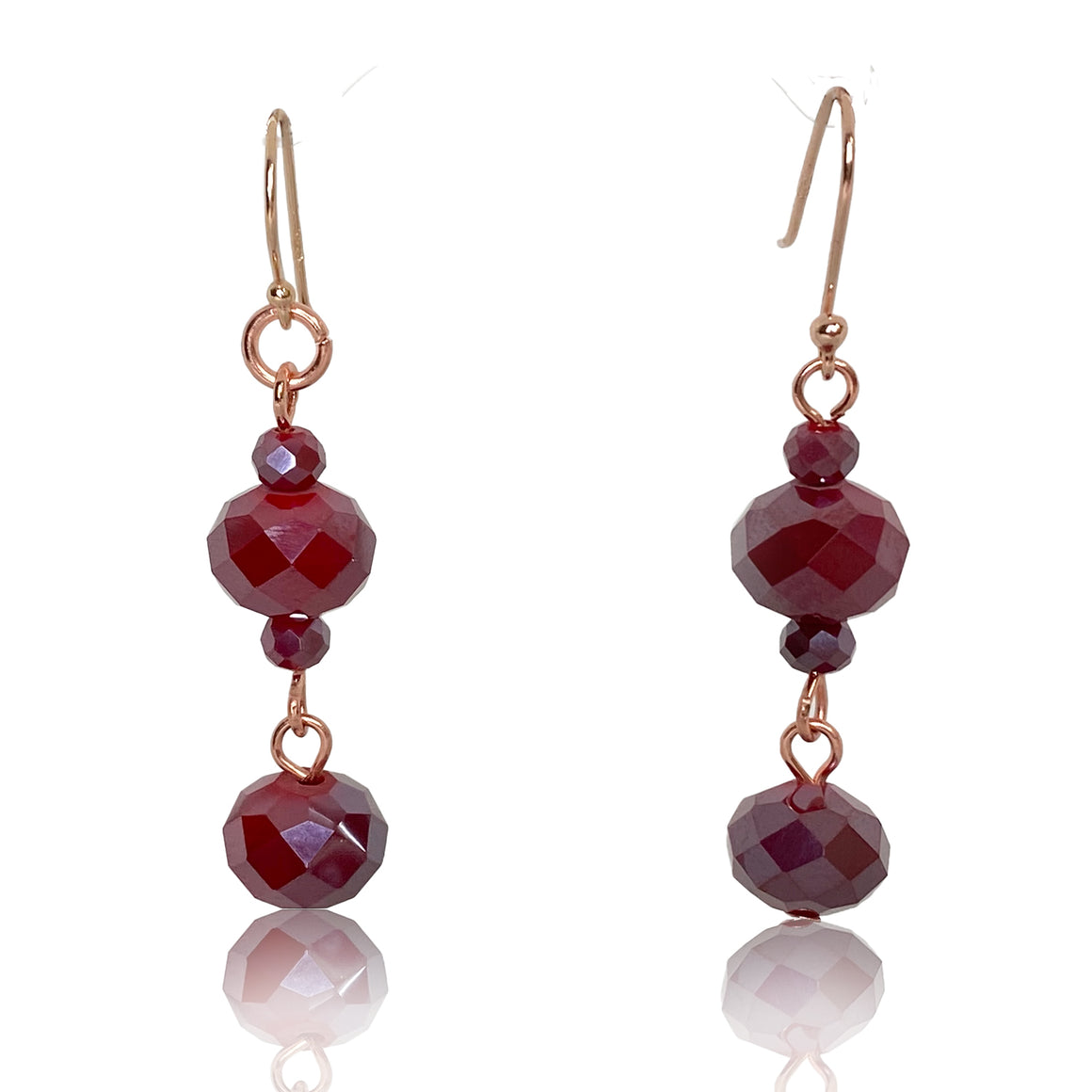 Long Raspberry Crystal Earrings - Matching 10 Way Necklace - Choose Your Hook Colour