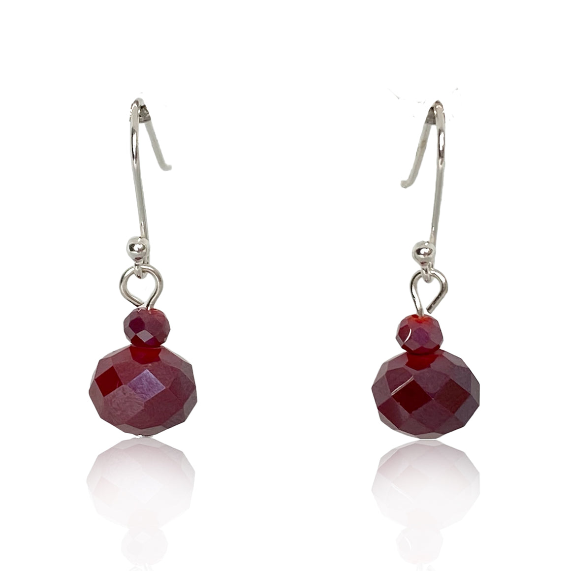 Short Raspberry Crystal Earrings - matching the 10 Way Necklace  - choose hook colour