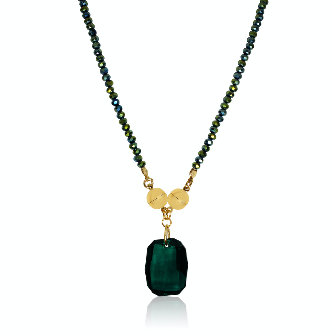 Cushion Crystal Pendant - Emerald  - choose your magnet colour