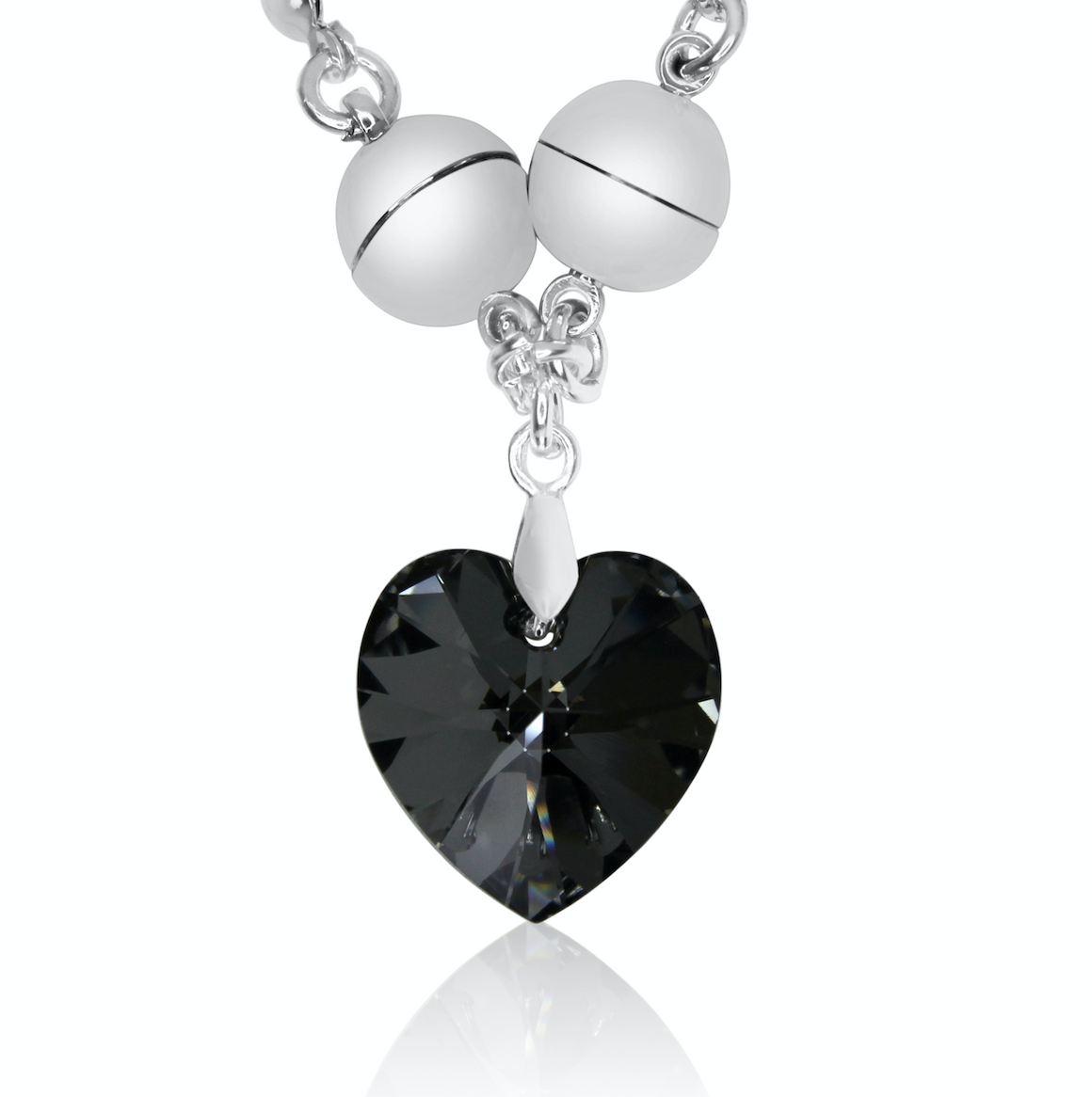 Swarovski Small Heart pendant - Charcoal - choose magnet colour
