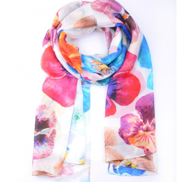 Silk Scarf - Colourful Pansies