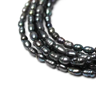 MEDIUM STRAND NECKLACE - Charcoal Pearls - choose magnet colour