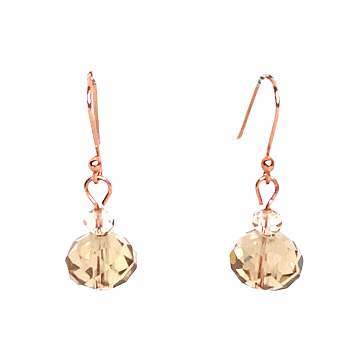 Short Champagne Crystal Earrings - matching 10 Way Necklace