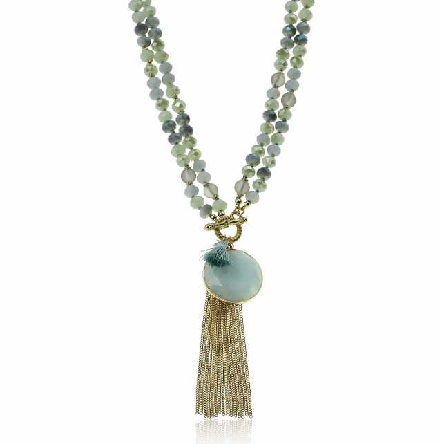Lola Necklace - soft pink/coral or soft blue/moss green
