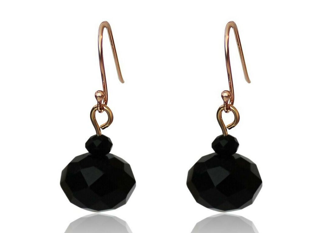 Black Crystal Earrings - matching 10 Way Necklace - choose your hook colour