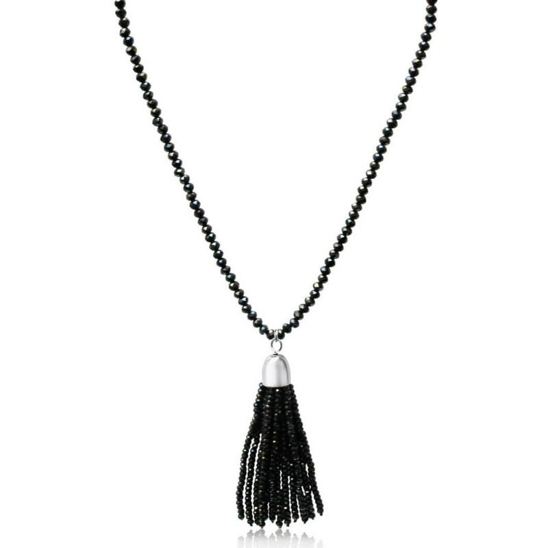 Crystal Tassel - Black Crystal - choose your magnet colour