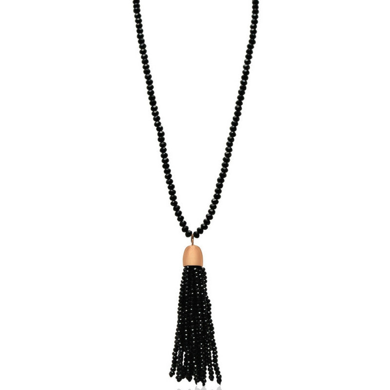 Crystal Tassel - Black with Rose Gold Magnets - pre-order now for early Sept delivery