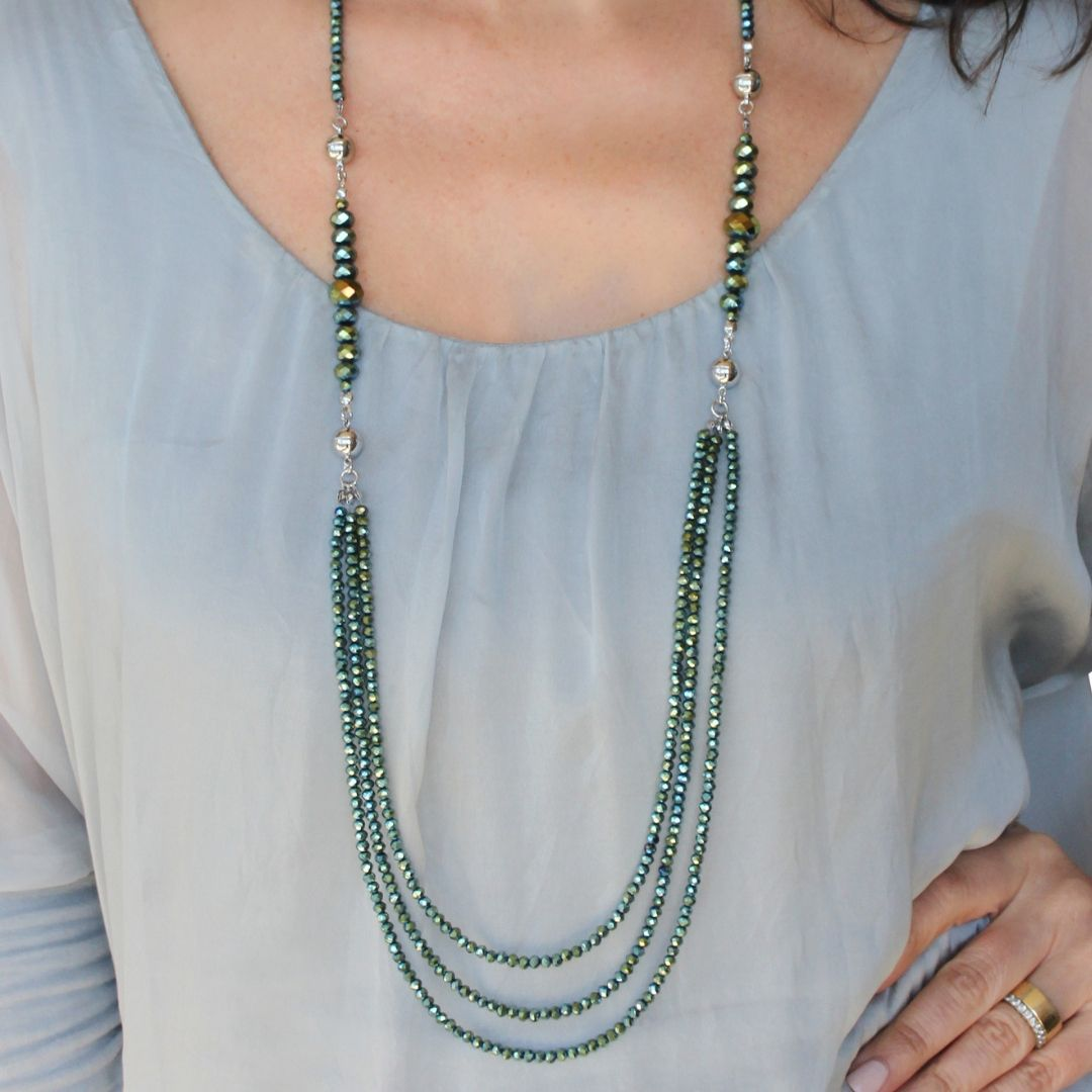10 Way Necklace - Sea Green Crystal - choose your magnet colour