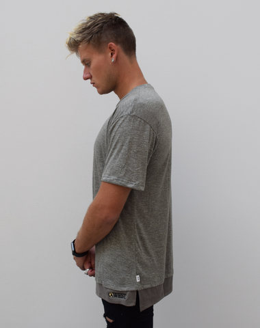 WEST. Heather Olive Layered Square Bottom Tee