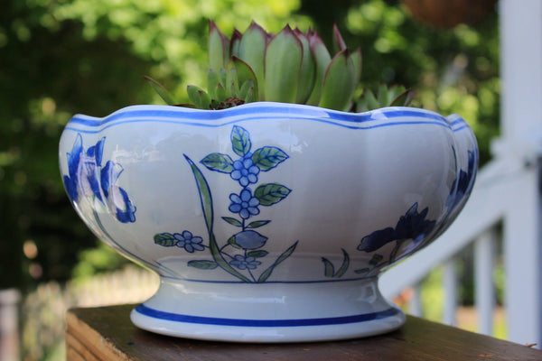 Vintage Pedestal Blue and White Ceramic Planter with Cacti- AAA Imports -  the design shoals