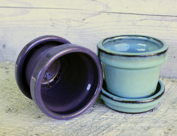 Small Ceramic Pots with Attached  Saucers