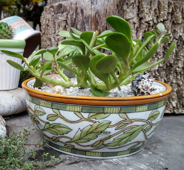 Green and Gold Ceramic Flower Pot -  the design shoals