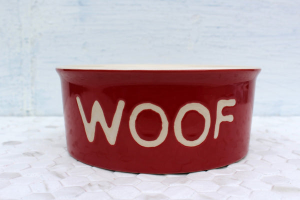 Red Ceramic Pet Bowl-ceramic pet dish-Design Shoals