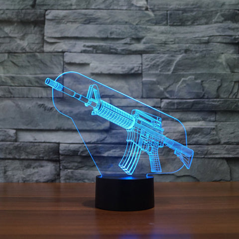 3D Lamp - AR-15 3D Effect LED Night Light 7 Color Changing Touch Lamp