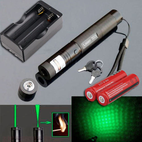 Flashlight - 10 Miles 532nm 5mw 303 Green Laser Pointer Beam Light (Batteries And Charger)