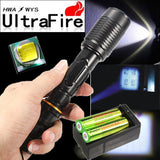 Flashlight - 2 X Ultrafire 6000 Lumen Tactical T6 LED Flashlight Torch+18650 Battery + Charger