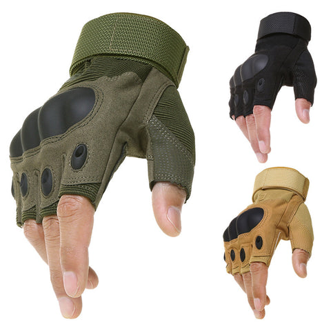 Gloves - Tactical Carbon Knuckle Half Finger Fingerless Gloves